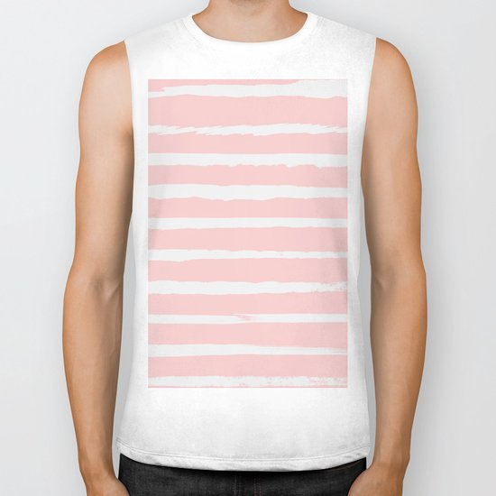 Irregular Hand Painted Stripes Pink Biker Tank