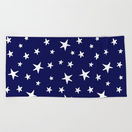 Stars - White on Navy Blue Beach Towel