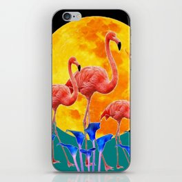 BLACK PINK FLAMINGOS FULL MOON BLUE LILIES iPhone Skin