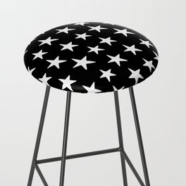 Star Pattern White On Black Bar Stool