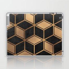Charcoal and Gold - Geometric Textured Cube Design II Laptop & iPad Skin