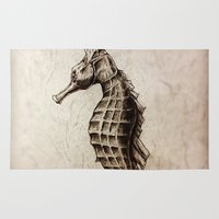 seahorse Area & Throw Rugs featuring Seahorse by Werk of Art