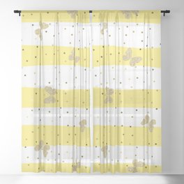 Butterfly Christmas pattern on Gold Yellow and White Stripes Sheer Curtain