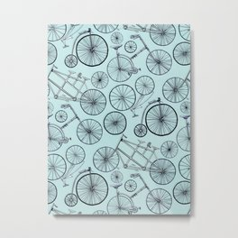 Monochrome Vintage Bicycles On Soft Blue Metal Print
