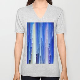 Frozen blue waterfall abstract digital painting Unisex V-Neck