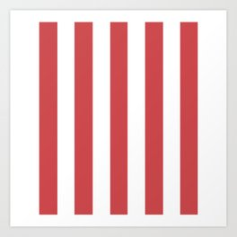 English vermillion pink - solid color - white vertical lines pattern Art Print