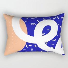 Peach + Blue Abstract Pattern Rectangular Pillow