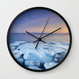 Ice floes at sunset, Arctic Ocean, Porsangerfjord, Norway Wall Clock