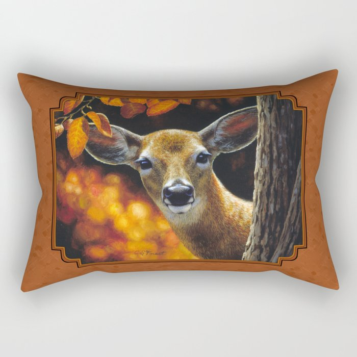 Whitetail Deer Face Rectangular Pillow