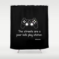 playstation Shower Curtains featuring PlayStation (Black) by Mokokoma Mokhonoana