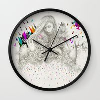 kris tate Wall Clocks featuring ECHOES by Peter Striffolino and Kris Tate by Peter Striffolino