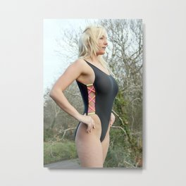 Black Swimsuit Girl Metal Print