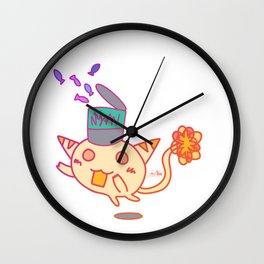 Cat with Can of Fish Wall Clock