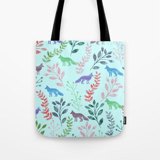 Watercolor Floral & Fox Tote Bag