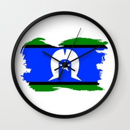 Torres Strait Islander Flag Border Grunge Wall Clock