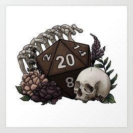 Skeleton D20 Tabletop RPG Gaming Dice Art Print