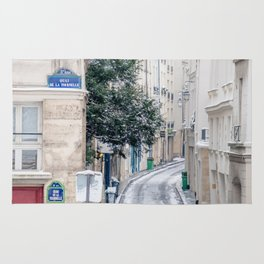 Snowy Latin Quarter in Paris France Rug