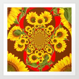 BROWN-RED SUNFLOWERS ABSTRACT Art Print