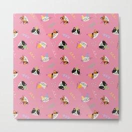 Cat Purr-tay! // Pink Metal Print