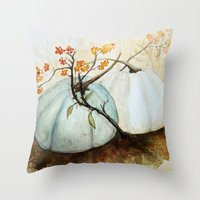 Throw Pillows featuring Pumpkin Patch - Watercolor by craftberrybush