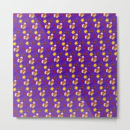 Hammy Pattern in Dark Purple Metal Print