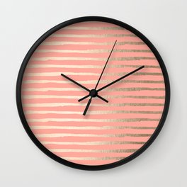 Abstract Stripes Gold Coral Pink Wall Clock