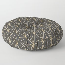Art Deco Vector in Charcoal and Gold Floor Pillow