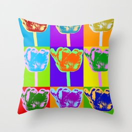 Poster with flower picture in pop art style Throw Pillow