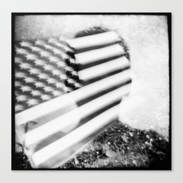 Boy and Flag Double Exposure Canvas Print