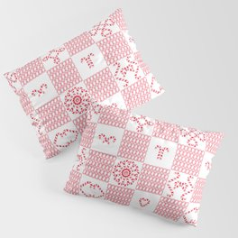 Christmas (cherry check) candy cane knit seamless repeat pattern in pink, red and white Pillow Sham