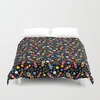 rush Duvet Covers featuring Rocket Rush by Art Tree Designs