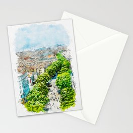 Aquarelle sketch art. Barcelona from above Stationery Cards