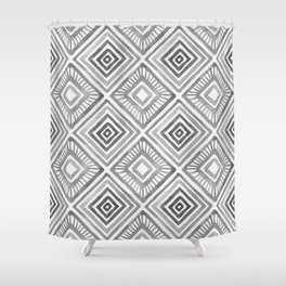 Tribal Geometric Watercolor Pattern - Grayscale Shower Curtain