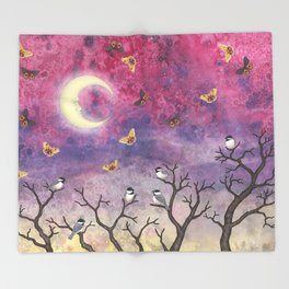 chickadees and io moths in the moonlit sky Throw Blanket
