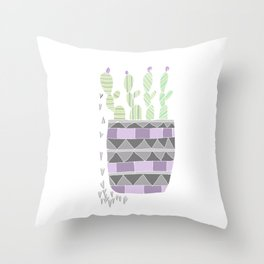 Potted Patterned Cacti Throw Pillow