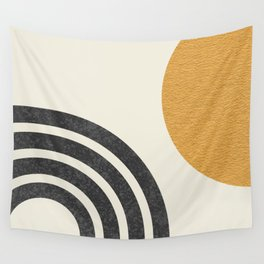 Mid century modern Sun & Rainbow Wall Tapestry