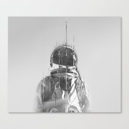 The Space Beyond B&W Astronaut Canvas Print