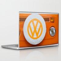 volkswagen Laptop & iPad Skins featuring Volkswagen Orange by Alice Gosling