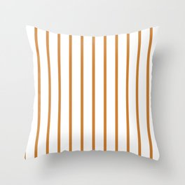 Vertical Lines (Bronze/White) Throw Pillow