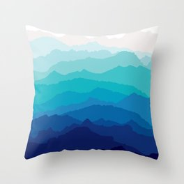 Blue Mist Mountains Throw Pillow