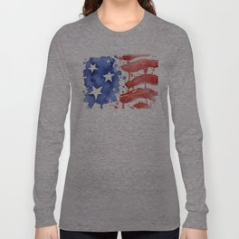 American Flag Watercolor Abstract Stars and Stripes Long Sleeve T-shirt