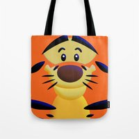 cartoons Tote Bags featuring Cute Orange Cartoons Tiger Apple iPhone 4 4s 5 5s 5c, ipod, ipad, pillow case and tshirt by Three Second