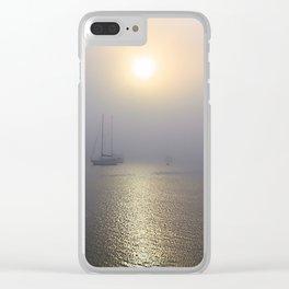 Foggy Harbor Sailboats Clear iPhone Case