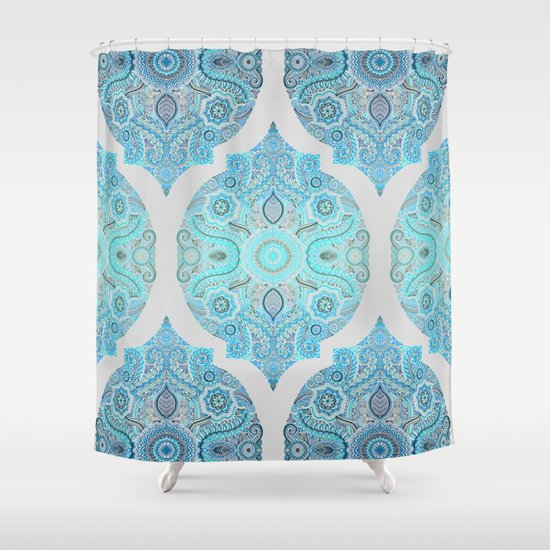 Through Ocean Sky Turquoise Blue Moroccan Pattern Shower Curtain By Micklyn Society6
