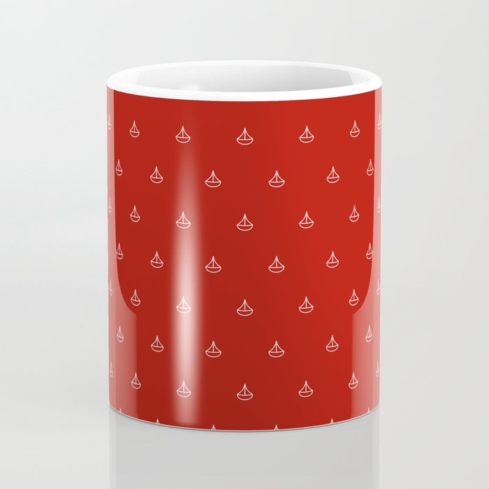 Maritime small Nautical Red and White Anchor Pattern 1 - Anchors Coffee Mug