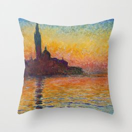 San Giorgio Maggiore by Twilight by Claude Monet Throw Pillow