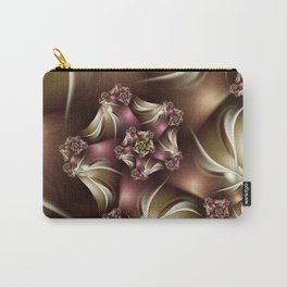 Abiding Fractal Spiral in Brown, White and Pink Carry-All Pouch