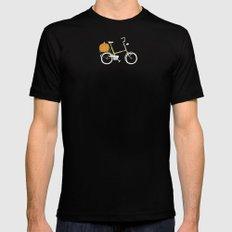 Bicycle with Pumpkin MEDIUM Mens Fitted Tee Black