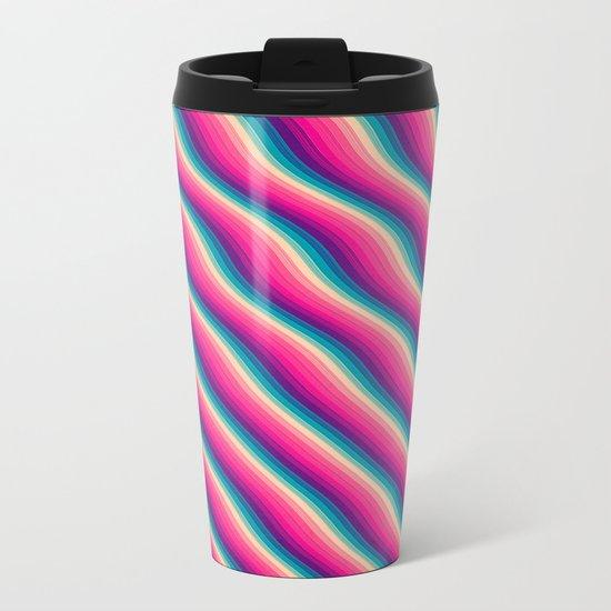 Abstract Color Burn Pattern - Geometric Lines / Optical Illusion in Rainbow Acid Colors Metal Travel Mug
