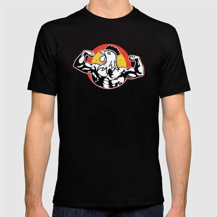 aaf3d0423 Rooster Funny Bodybuilders Barbells Weightlifting Weightlifters Gym  Instructors Dumbbell Gift T-shirt by tomgiant | Society6